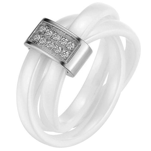 Boniskiss White Ceramic Rope With Silver Tone Stainless Steel Tricyclic Engagement Ring Anniversary Wedding Band