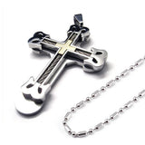 Boniskiss Cool Stainless Large Heavy Men's Cross Necklace Pendant 22 Inch Chain, Silver Gold Color