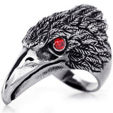 Boniskiss Stainless Steel Hawk Eagle Ring Mens Biker Engagement Wedding Band Black Silver Tone