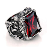 Boniskiss #12 Vintage Style Stainless Steel Wedding Band Dragon Claw Biker Men's Engagement Ring