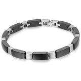 Boniskiss Black Ceramic and Stainless Steel Bracelet Cross Link Chain Bangle Wristband Birthday Christmas Gift