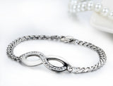 Boniskiss New Stainless Steel Interlocking Infinity Chain Bangle Figure 8 Bracelet 7.9 Inch Length - 5mm Width
