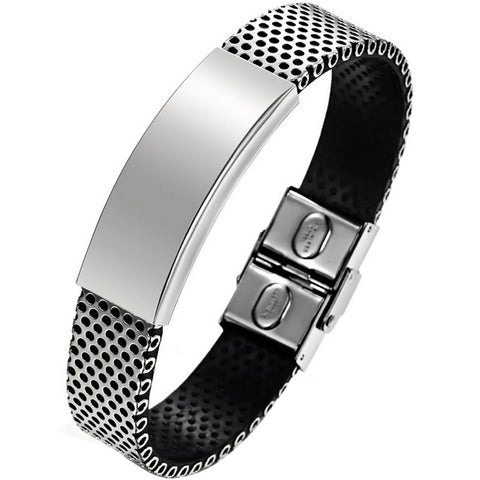 Boniskiss New Stainless Steel and Black PU Leather Bangle Bracelet Christmas Gift
