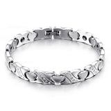Boniskiss New Ladies Heart Golf Bracelet Stainless Steel Magnetic Stone Bracelet 8.66