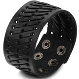 Boniskiss Wide Leather Mens Bangle Cuff Bracelet Color Black