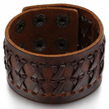 Boniskiss Mens Wide Leather Bangle Cuff Bracelet Color Brown