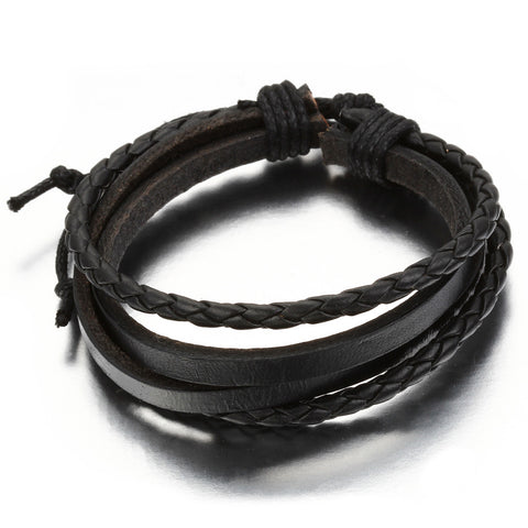 Boniskiss Mens Womens Leather Rope Surfer Wrap Bangle Bracelet Adjustable 9 Inch