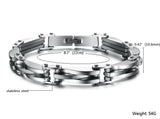 Boniskiss New Arrivals Two Tone Stainless Steel Men's Link Bracelet 8.66 Inch, Silver Golden Colour
