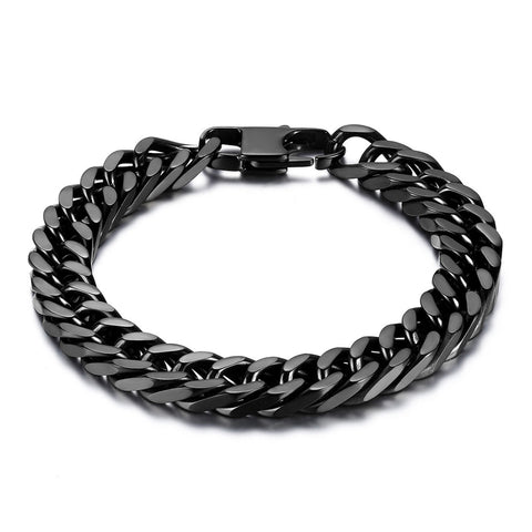 Boniskiss Durable Black Stainless Steel 10mm Heavy Wide Mens Curb Link Chain Bracelet 8 Inches