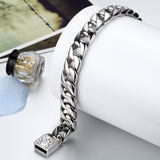 Boniskiss Chunky Heavy Mens Stainless Steel Curb Chain Bracelet in Silver Colour 9 Inches High Polished with Beautiful Shine