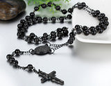 Boniskiss Mens Womens Stainless Steel Pendant Necklace Black Jesus Christ Crucifix Cross Rosary Vintage 29.7 Inch Chain