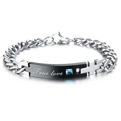 Boniskiss Anniversary Gifts Stainless Steel True Love Couples Chain Bracelet Bangles