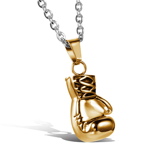 Boniskiss Stainless Steel Necklace with Boxing Glove Gold Tone