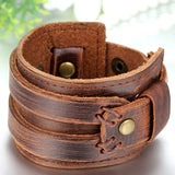 Boniskiss Punk Style Wide Leather Bangle Cuff Bracelet Brown Christmas Gifts Bracelets
