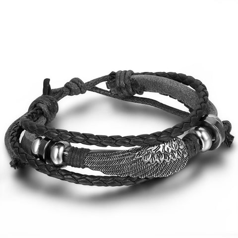 Boniskiss Mens Leather Wrap Bracelet Vintage Angel Wing