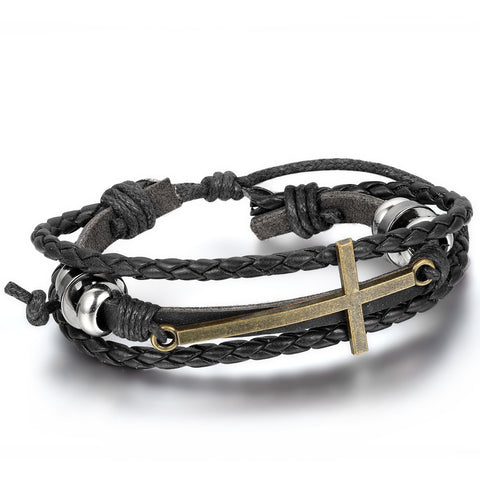 Boniskiss Leather Bracelet Vintage Golden Cross Charm