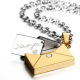 Boniskiss Men's I Love You Stainless Steel Envelope Love Letter Pendant Necklace Silver Gold Tone with 22 inch Chain
