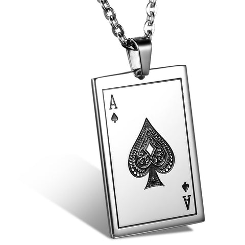 Boniskiss Stainless Steel Ace of Spades Card Poker Pendant Mens Womens Necklace 22 inch Chain