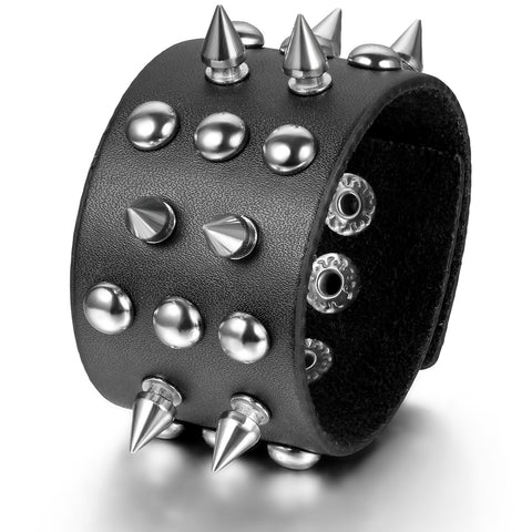 Boniskiss Spike Rivet Leather Bracelet Punk Rock