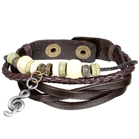 Boniskiss Charm Treble Clef Music Note Cuff Brown Leather Bangle Womens Mens Surfer Bracelet Wristband