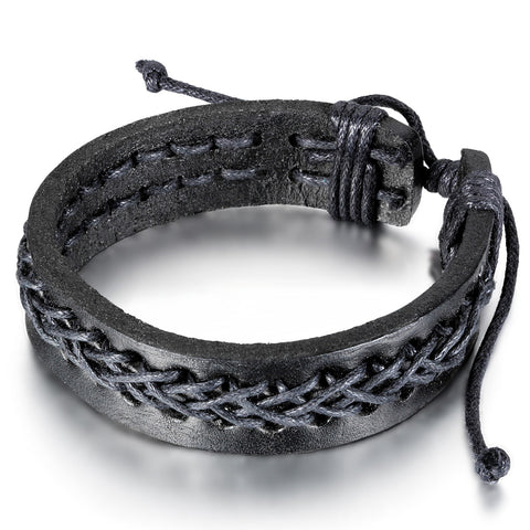 Boniskiss Braided Rope Leather Bracelet Leather Wrap Wristband Mens Surf Bracelet