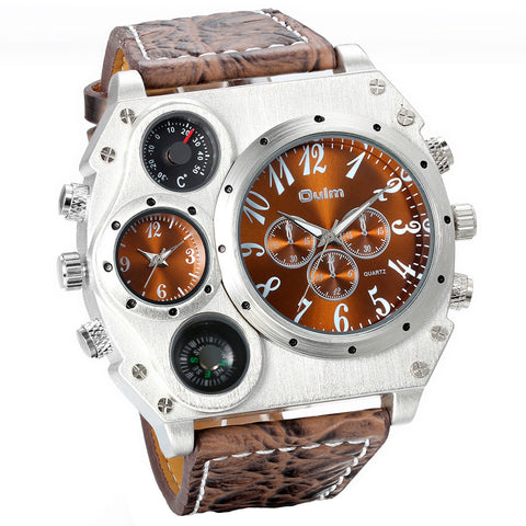 Boniskiss Large Dial Brown Watch Dual Time Zones Compass Temperature Six Pointers