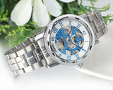 Boniskiss Skeleton Blue Dial Stainless Steel Band Hand-Wind Mechanical Mens Men Wrist Watch