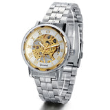 Boniskiss Golden Skeleton Dial Hand-Wind Mechanical Mens Stainless Steel Watch
