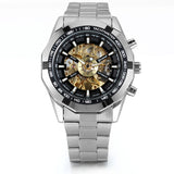 Boniskiss Watch for Men - Skeleton Mens Stainless Steel Band Black Bezel Automatic Mechanical Sport Wrist Watch