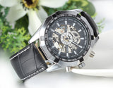 Boniskiss Mens Automatic Mechanical Skeleton Watch Black Leather