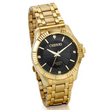 Boniskiss Golden Stainless Steel Mens Wrist Watch for Man Black Dial with Rhinstones