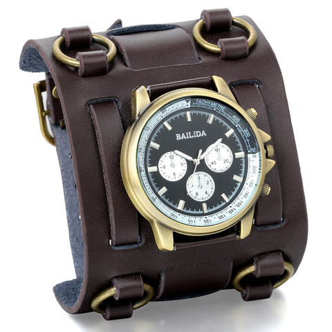 Boniskiss Gothic Leathernk Style Mens Wrist Watch 74MM Wide Brown Leather Cuff Watches Hip Hop