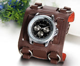 Boniskiss Hip-hop Gothic Leathernk Style Mens Wrist Watch 74MM Wide Brown Leather Cuff Watches