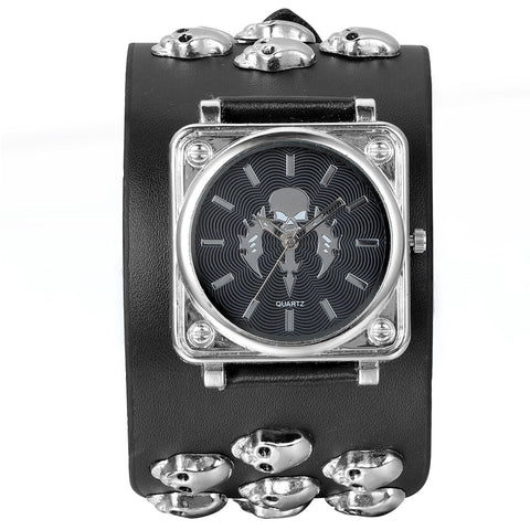Boniskiss Halloween Gift Leathernk Rock Collection Black Heavy Mens Skull Leather Strap Band Watch