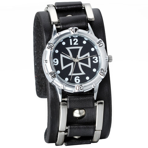 Boniskiss Unisex Leathernk Rock Collection Cross Pattern Black Wide Leather Cuff Band Watch