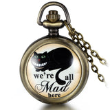 Boniskiss Vintage Retro We are All Mad Here Pocket Locket Quartz Watch Pendant Necklace 30.7 Inch Chain