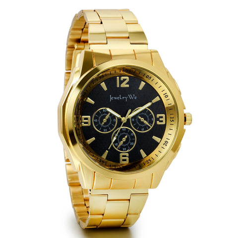 Boniskiss Men Gold Tone Stainless Steel Quartz Wrist Watch Birthday Gift