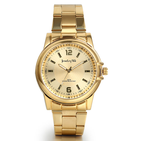 Boniskiss Classic Golden Stainless Steel Male Japanese Quartz Wrist Watches for Men