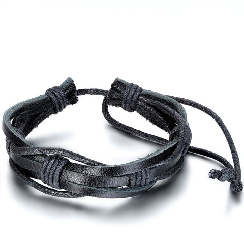 Boniskiss Mens Womens Leather Wrap Wrist Band Black Rope Bracelet Adjustable