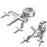 Boniskiss Punk Rock Fashion Stainless Steel Hinged Hoop Huggie Stud Earrings Crosses Dangle