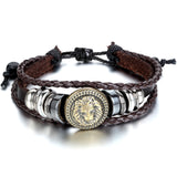 Boniskiss Leather Bracelet Adjustable with Pull String Black Brown