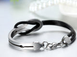 Boniskiss Valentine Gifts Leather Half Cuff Stainless Steel Infinity Bangle Bracelet