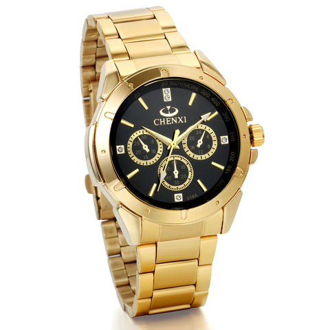 Boniskiss Mens Wrist Watches IP Gold Stainless Steel Analog Black Dial with Rhinestones