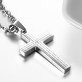 Boniskiss Christmas Gift Men's Stainless Steel Lords Prayer Cross Pendant Necklace, 21.3 inch Chain