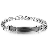 Boniskiss Men,Women's Stainless Steel Bracelet Link Wrist Silver Black Rose Gold Curb Chain Valentine Love Couples Promise