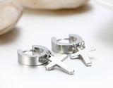 Boniskiss Mens Stainless Steel Cross Huggie Hinged Hoop Earrings Set