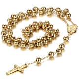 Boniskiss New Gold Stainless Steel Rosary Beads Necklace with Crucifix Cross Pendant 36.6 Inch Chain, 8mm Beads