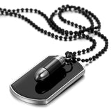 Boniskiss Army Style Mens Cross Bullet Dog Tag Pendant Necklace with 27.5 Inch Chain Black Silver