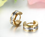 Boniskiss  Stainless Steel 2 Tone Huggie Earrings Mens Hoop Earrings