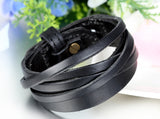 Boniskiss Mens Leather Bracelet Wide Cuff Bangle Adjustable
